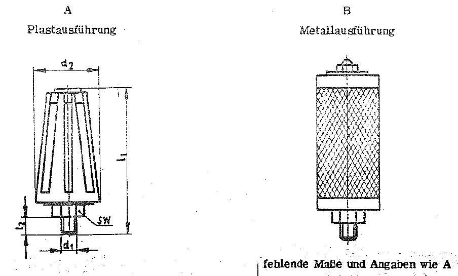 Ausführung A und Ausführung B der Pneumatik Schalldämpfer TGL 20737