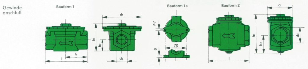 Orsta Micro-S-Filter mit Gewindeanschluss (Bauformen)