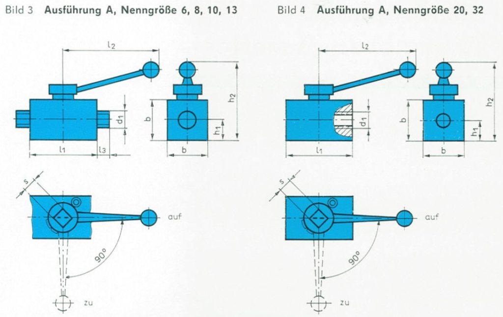 TGL 21575 - Abmessungen der Absperrventile