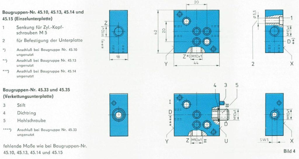 Abmessungen der Unterplatten nach TGL 20710