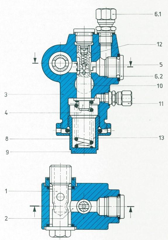 Schnittbild Druckbegrenzungsventile nach TGL 10871